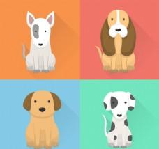卡通各种狗狗矢量素材