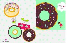 卡通手绘美味的甜甜圈插画