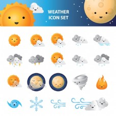 卡通自然天气元素