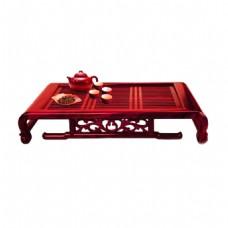 雅致红褐色木制茶盘产品实物