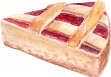 水彩时尚美味的蛋糕插画