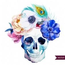 手绘骷颅和花朵插画