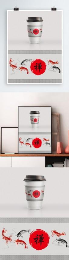 中国分传统风格咖啡杯奶茶杯套模板设计