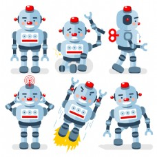 蓝灰色卡通机器人素材