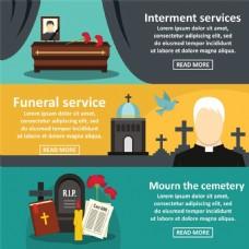 矢量教堂与墓地设计图片