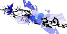 蓝矢量花纹图片