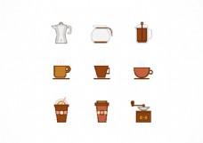 手绘扁平咖啡元素图标