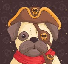 穿着海盗服装的可爱哈巴狗