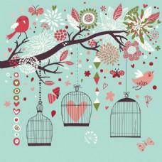 时尚唯美鸟笼和小鸟插画