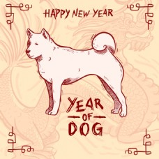 新年手绘狗狗素材