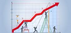 淘宝矢量科技卡通金融箭头人物梯子蓝色海报