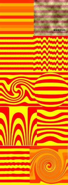 PSD素材红黄色相间背景涂鸦背景橙色波纹