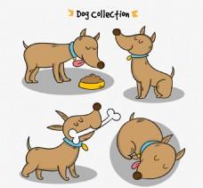 四只卡通棕色狗素材