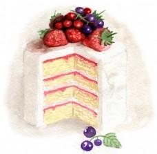 水彩绘水果蛋糕插画