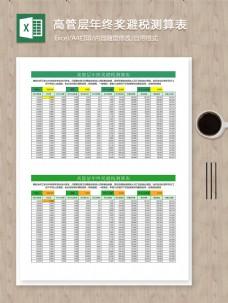 高管层年终奖避税测算表自动计算excel系统