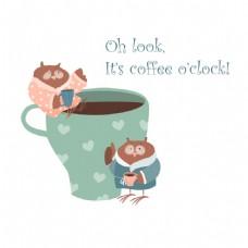 站在咖啡杯旁边的卡通精灵