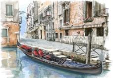 水彩繪 水上城市圖片