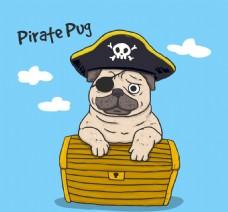 手绘海盗素材狗狗