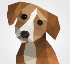 卡通矢量多边形的狗