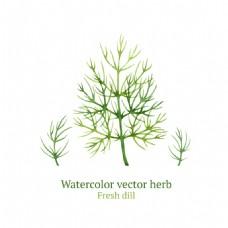 绿色艺术水彩绘植物
