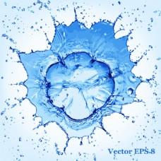 蓝色清新唯美的水花