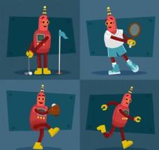 卡通运动机器人素材
