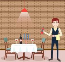 西餐厅服务员AI矢量元素