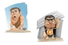 山顶洞人矢量卡通插画图片