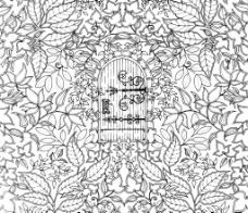 黑白花朵复杂剪纸底纹图片
