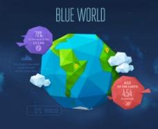 蓝色地球折纸背景矢量素材图片