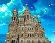 油画向教堂的城堡图片
