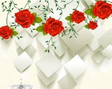 3D玫瑰花背景墙