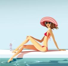 比基尼美女度假場景圖片