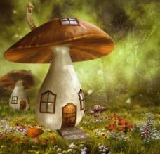 童话背景蘑菇小屋子图片