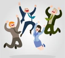 跳跃欢呼的 商务人物图片