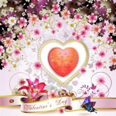 爱心鲜花背景